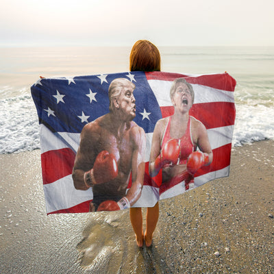 Politics - Trump punching Elizabeth Warren Beach Towel - 37x74