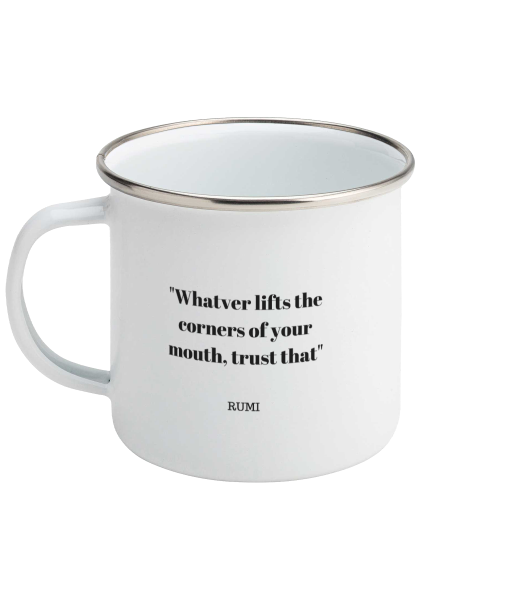 Rumi Smile Quote Enamel Mug