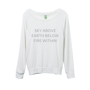 'Sky Above...' Cream Long Sleeved Eco-Jersey Top