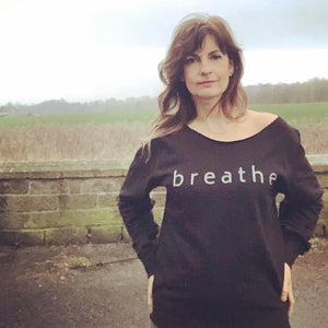 Breathe Slashed Neck Black Sweatshirt