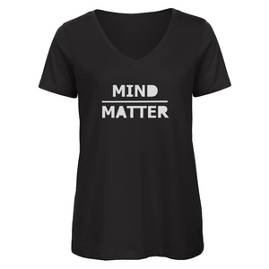 V Neck Organic Cotton Mind Over Matter T shirt Black