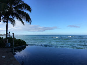 Beatrice Bradley travels to Waikiki Beach Infinity pool with infinity view