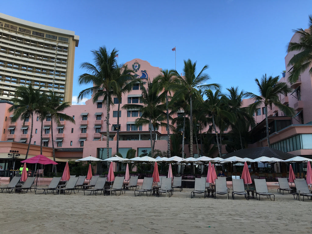 Looking back on Waikiki Beach at the Royal Hawaiian hotel