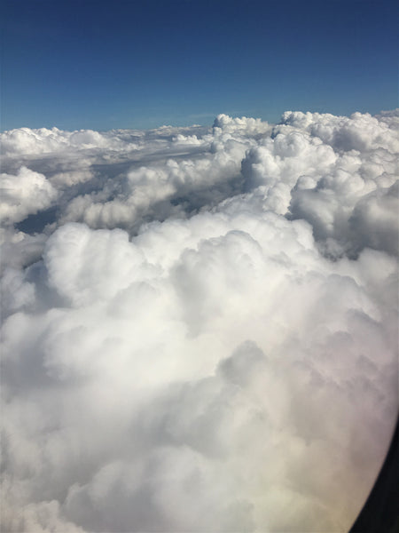 Soaring over the clouds in a plane