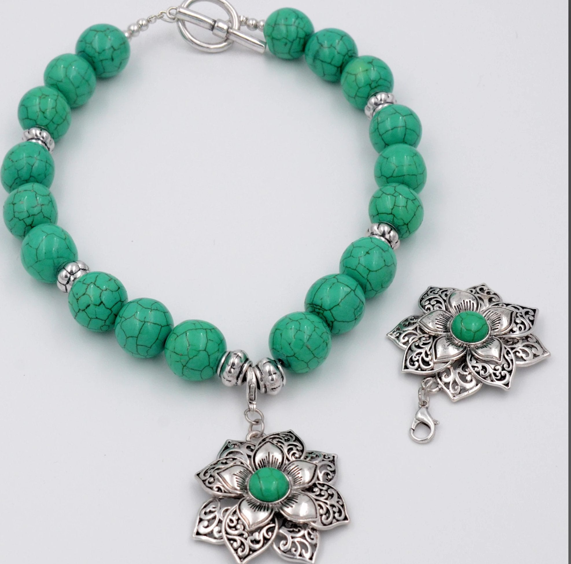 Antiqued Silver Flower necklace with green beads
