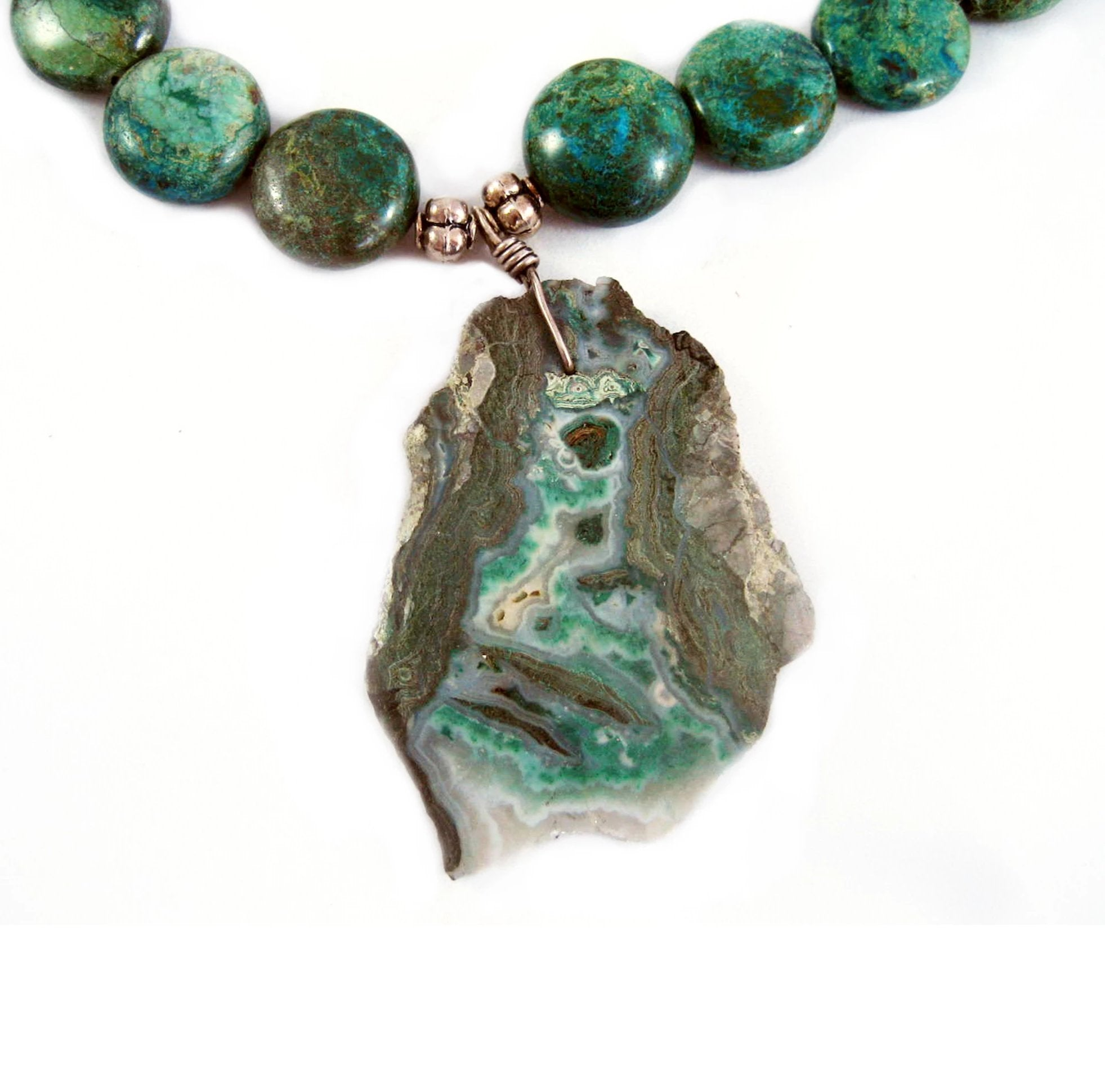 Shades of green and grey slab necklace
