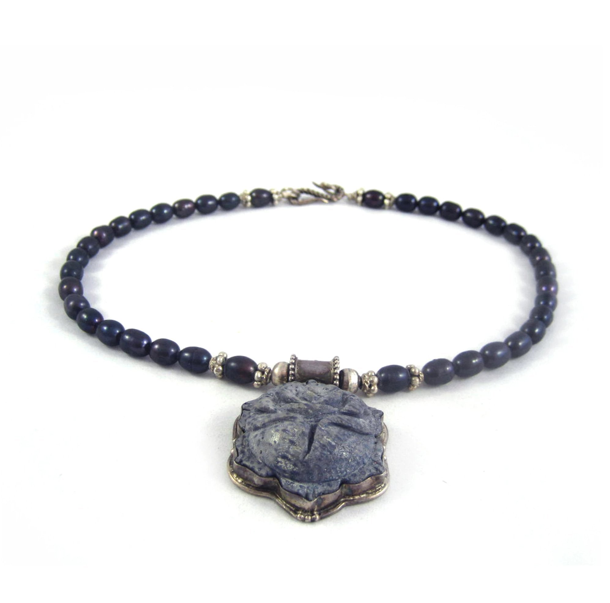 Grey Carved soapstone necklace with dark grey beads, casual necklaces