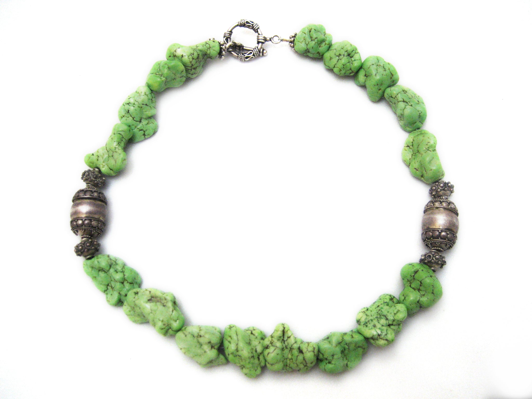 Vibrant Green Chunk Turquoise necklace with antique silver oval beads  AR collection
