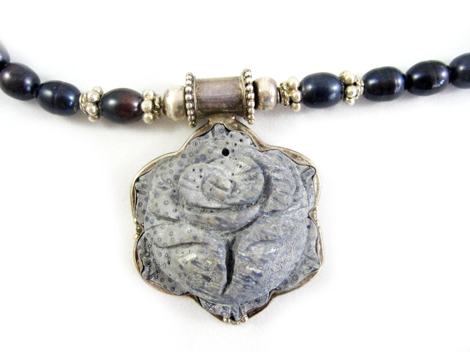 Grey Carved soapstone necklace with dark grey beads