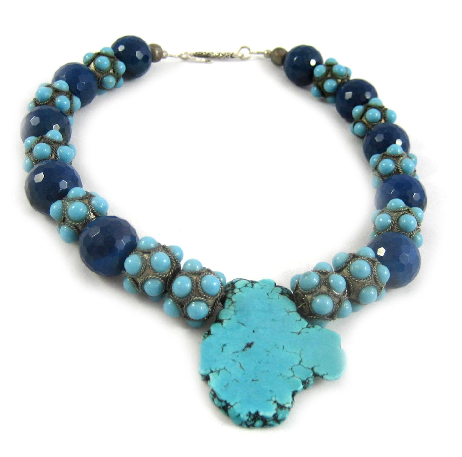 Turquoise Slab statement necklace with royal azure blue faceted beads and studded spacers