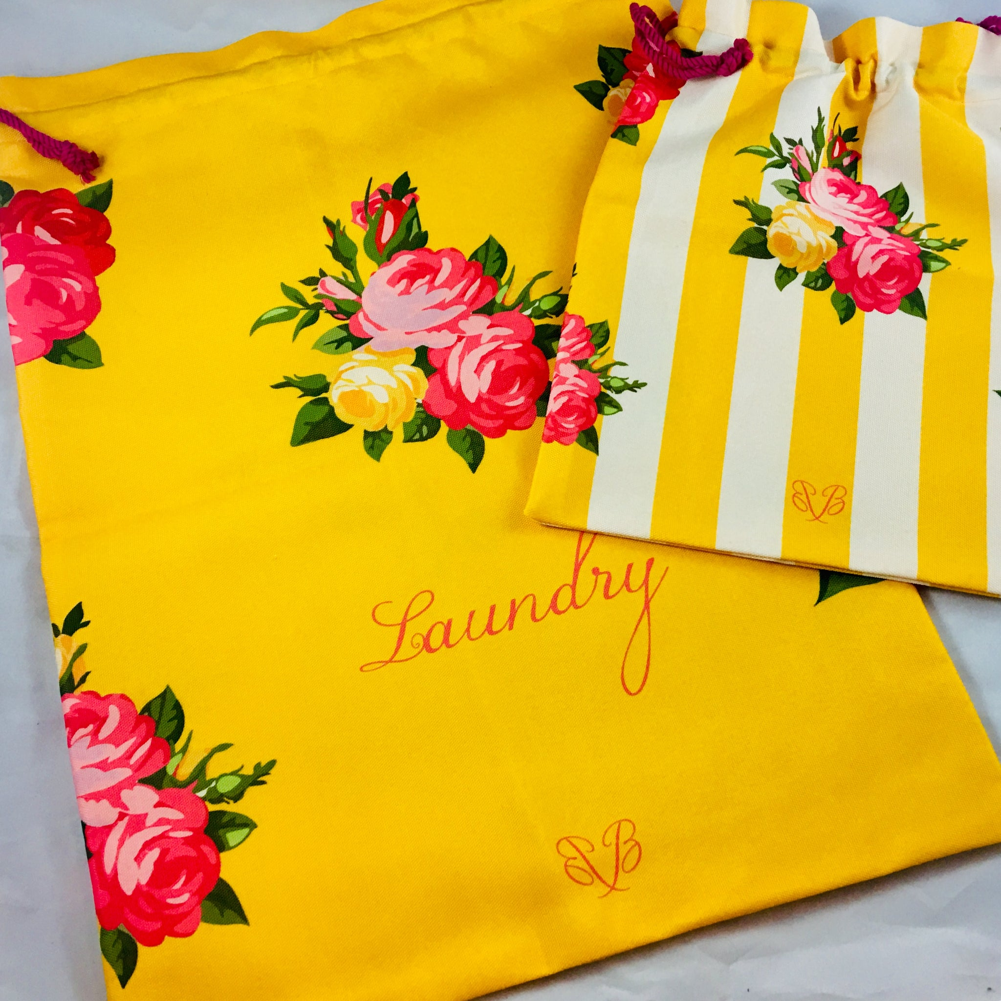 "Travel shoe storage bags 12 "" wide by 14"" yellow color with roses adornlong"