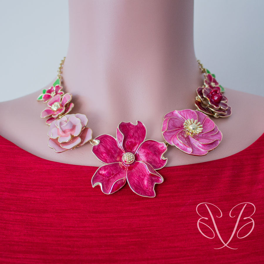 Jewelry-on-the-Go/Ruby Rose Enamel Flower Necklace