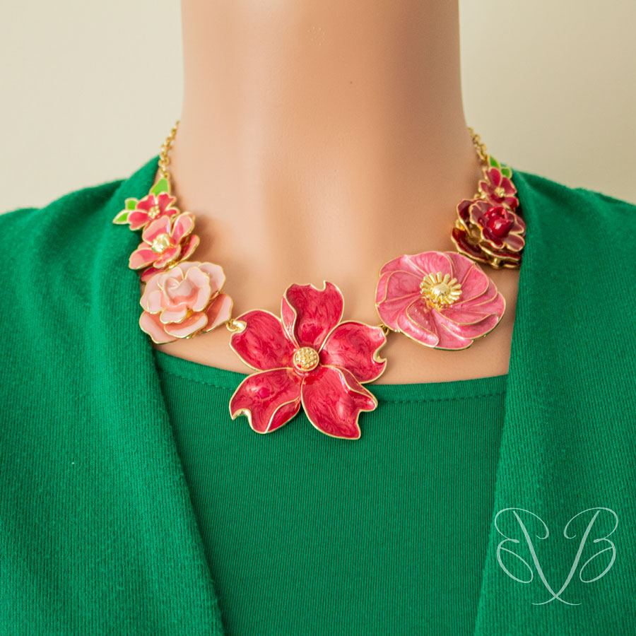 casual Ruby Rose Enamel Flower Necklace