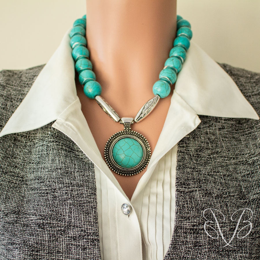 Turquoise Medallion Necklace when worn with casual outfit