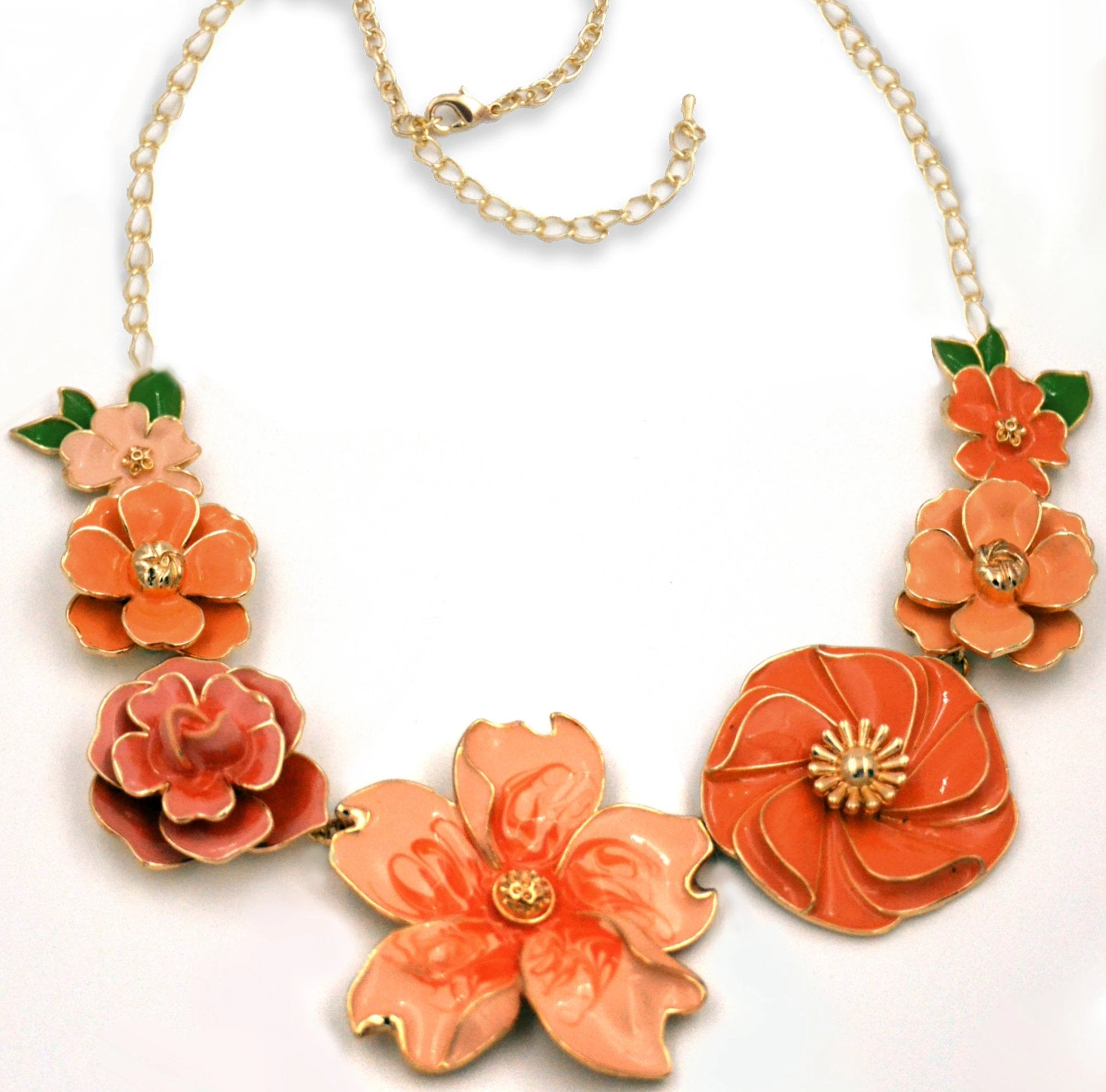 Peach Parfait enamel Floral Necklace