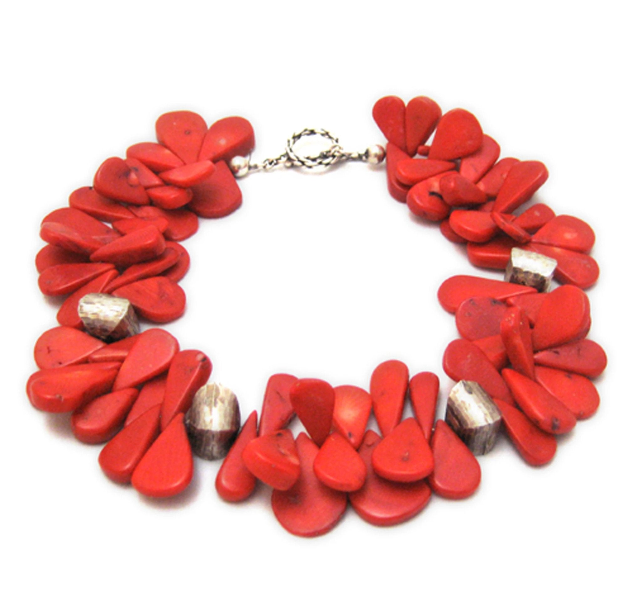 Red tear drop shaped Coral beaded statement necklace with brushed silver lantern shaped beads. AR collection