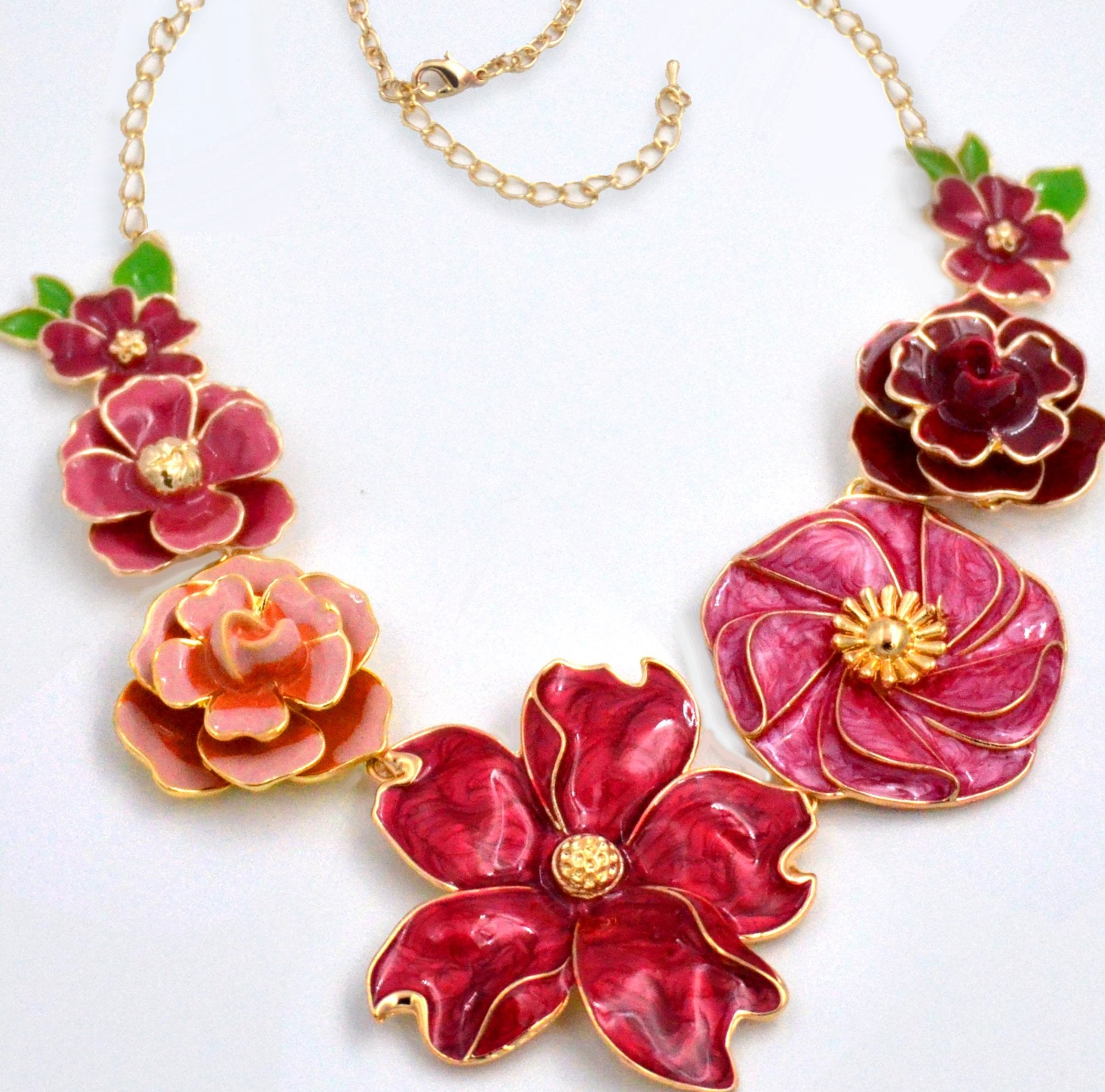 Ruby Rose Enamel Flower Necklace - Woman's Jewelry