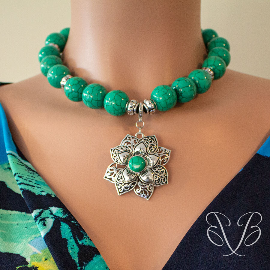 Jewelry on the Go/ Antiqued Silver Flower necklace with green beads
