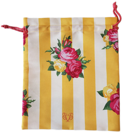 storage shoe bag with Beatrice Bradley logo and lovely roses adorn