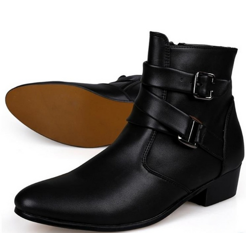 Sleek Leather Strap Boots