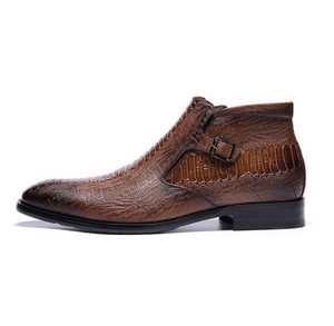 Crocodile Embossed Leather Ankle Boots
