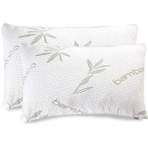 Bamboo Pillow 2 Pack - Shredded (Premium) Memory Foam Pillow - Adjustable