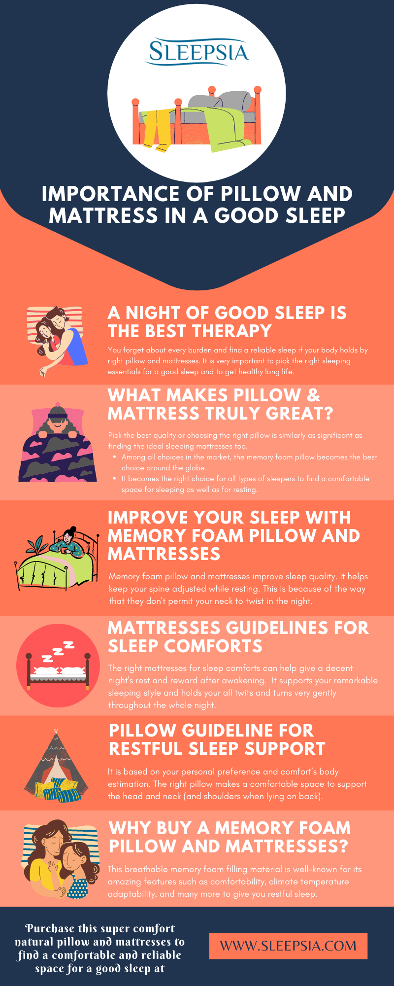 Importance of Pillow and Mattress in a Good Sleep
