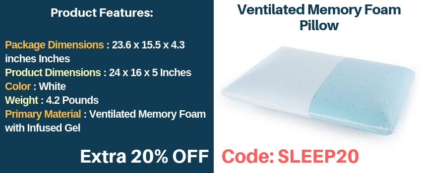 Sleepsia Ventilated Memory Foam Pillow