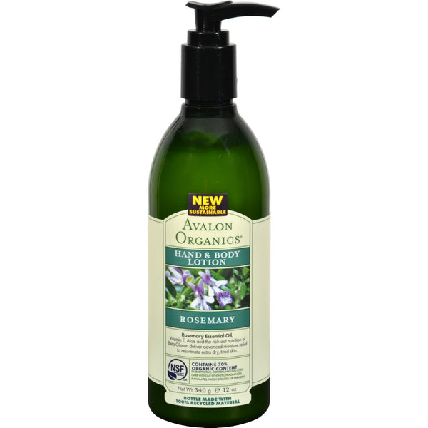 Avalon Organics Hand And Body Lotion Rosemary - 12 Fl Oz