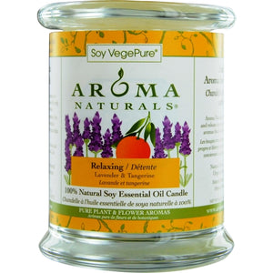RELAXING AROMATHERAPY by Relaxing Aromatherapy ONE 3.7x4.5 inch MEDIUM GLASS PILLAR SOY AROMATHERAPY CANDLE.  COMBINES THE ESSENTIAL OILS OF LAVENDER AND TANGERINE TO CREATE A FRAGRANCE THAT REDUCES STRESS.  BURNS APPROX. 45 HRS