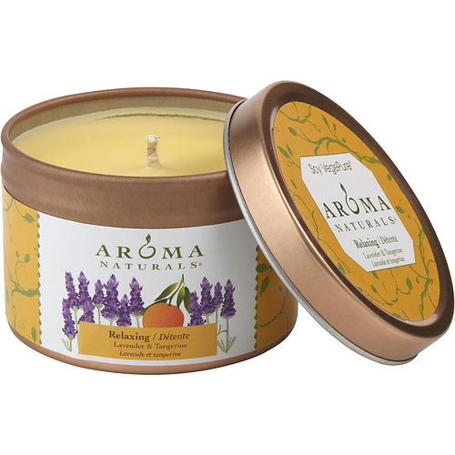RELAXING AROMATHERAPY by Relaxing Aromatherapy ONE 2.5x1.75 inch TIN SOY AROMATHERAPY CANDLE.  COMBINES THE ESSENTIAL OILS OF LAVENDER AND TANGERINE TO CREATE A FRAGRANCE THAT REDUCES STRESS.  BURNS APPROX. 15 HRS