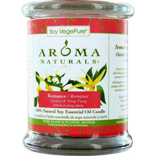 ROMANCE AROMATHERAPY by Romance Aromatherapy ONE 3X3.5 inch MEDIUM GLASS PILLAR SOY AROMATHERAPY CANDLE.  COMBINES THE ESSENTIAL OILS OF YLANG YLANG & JASMINE TO CREATE PASSION AND ROMANCE.  BURNS APPROX. 60 HRS. - U