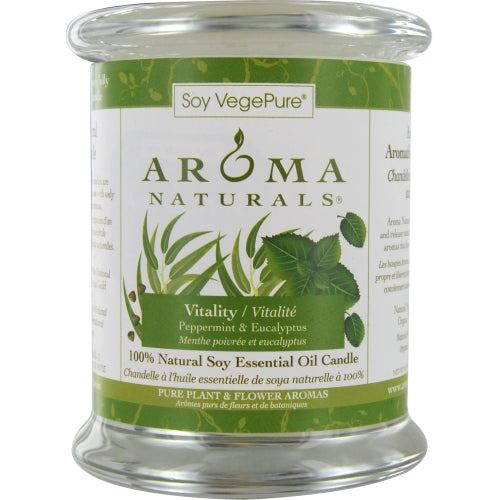 VITALITY AROMATHERAPY by Vitality Aromatherapy ONE 3x3.5 inch MEDIUM GLASS PILLAR SOY AROMATHERAPY CANDLE. USES THE ESSENTIAL OILS OF PEPPERMINT & EUCALYPTUS TO CREATE A FRAGRANCE THAT IS STIMULATING AND REVITALIZING.  BURNS APPROX. 60 HRS.