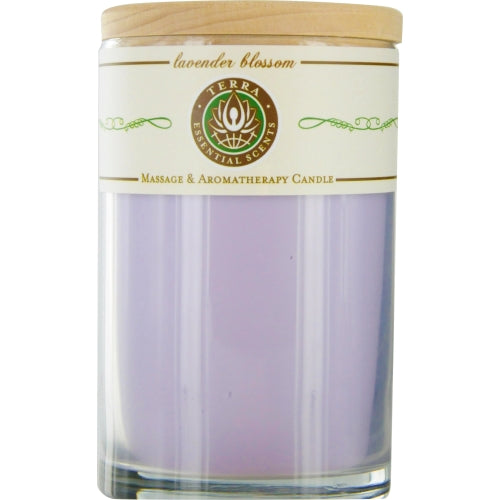 Lavender Blossom By Terra Essential Scents Massage & Aromatherapy Soy Candle 12 Oz Tumbler. A Calming & Balancing Blend With Amethyst Gemstone. Burns Approx. 30+ Hours
