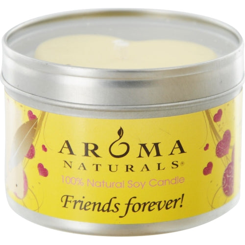 Friends Forever Aromatherapy By  One 6.5 Inch Tin Soy Aromatherapy Candle With Yellow Heart.  Combines The Essential Oils Of Orange & Lemongrass.  Burns Approx. 40 Hrs.