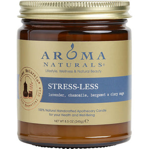STRESS LESS AROMATHERAPY by  ONE 3 X 3 inch JAR AROMATHERAPY CANDLE.  COMBINES THE ESSENTIAL OILS OF LAVENDER, CHAMOMILE, BERGAMOT & CLARY SAGE.  BURNS APPROX.  50 HRS.