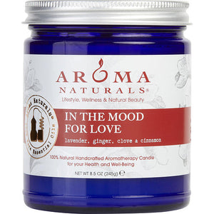 In The Mood For Love Aromatherapy By  One 3 X 3 Inch Jar Aromatherapy Candle.  Combines The Essential Oils Of Lavender, Ginger, Clove & Cinnamon.  Burns Approx.  50 Hrs.