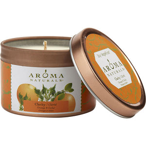 CLARITY AROMATHERAPY by CLARITY AROMATHERAPY ONE 2.5x1.75 inch TIN SOY AROMATHERAPY CANDLE. COMBINES THE ESSENTIAL OILS OF ORANGE & CEDAR. BURNS APPROX. 15 HRS.