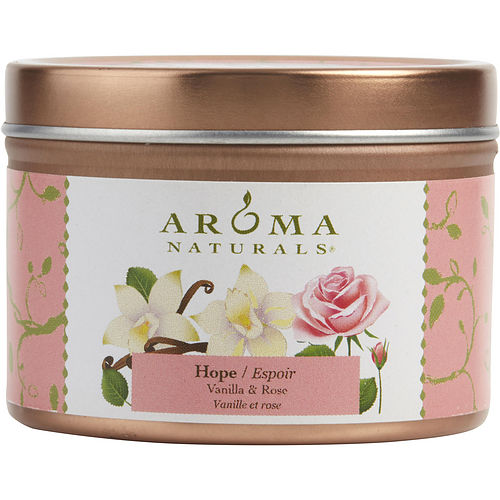 HOPE AROMATHERAPY by Hope Aromatherapy ONE 2.5x1.75 inch TIN SOY AROMATHERAPY CANDLE. COMBINES THE ESSENTIAL OILS OF VANILLA & ROSE. BURNS APPROX. 15 HRS.