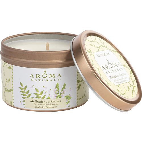 MEDITATION AROMATHERAPY by Mediation Aromatherapy ONE 2.5x1.75 inch TIN SOY AROMATHERAPY CANDLE. COMBINES THE ESSENTIAL OILS OF PATCHOULI & FRANKINCENSE TO CREATE A WARM AND COMFORTABLE ATMOSPHERE. BURNS APPROX. 15 HRS.