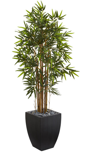 Nearly Natural Home Decorative 5' Bamboo Artificial Tree In Black Wash Planter