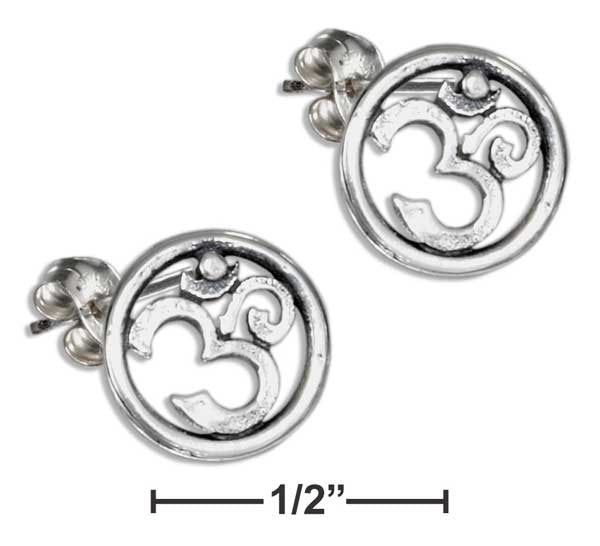 Sterling Silver Circle with Yoga Om or Ohm Symbol Earrings