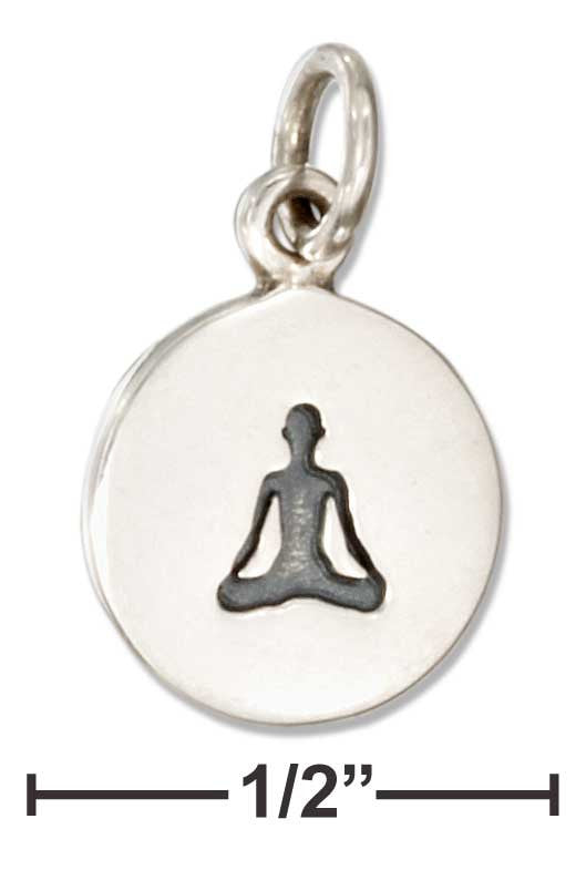 Sterling Silver Round Yoga Sitting Lotus Pose Charm