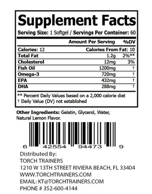 Torch Trainers Omega 3 Fish Oil (Lemon Flavor), Fish Oil - 1200mg, Omega 3 - 720mg - 60 softgels - Case of 12
