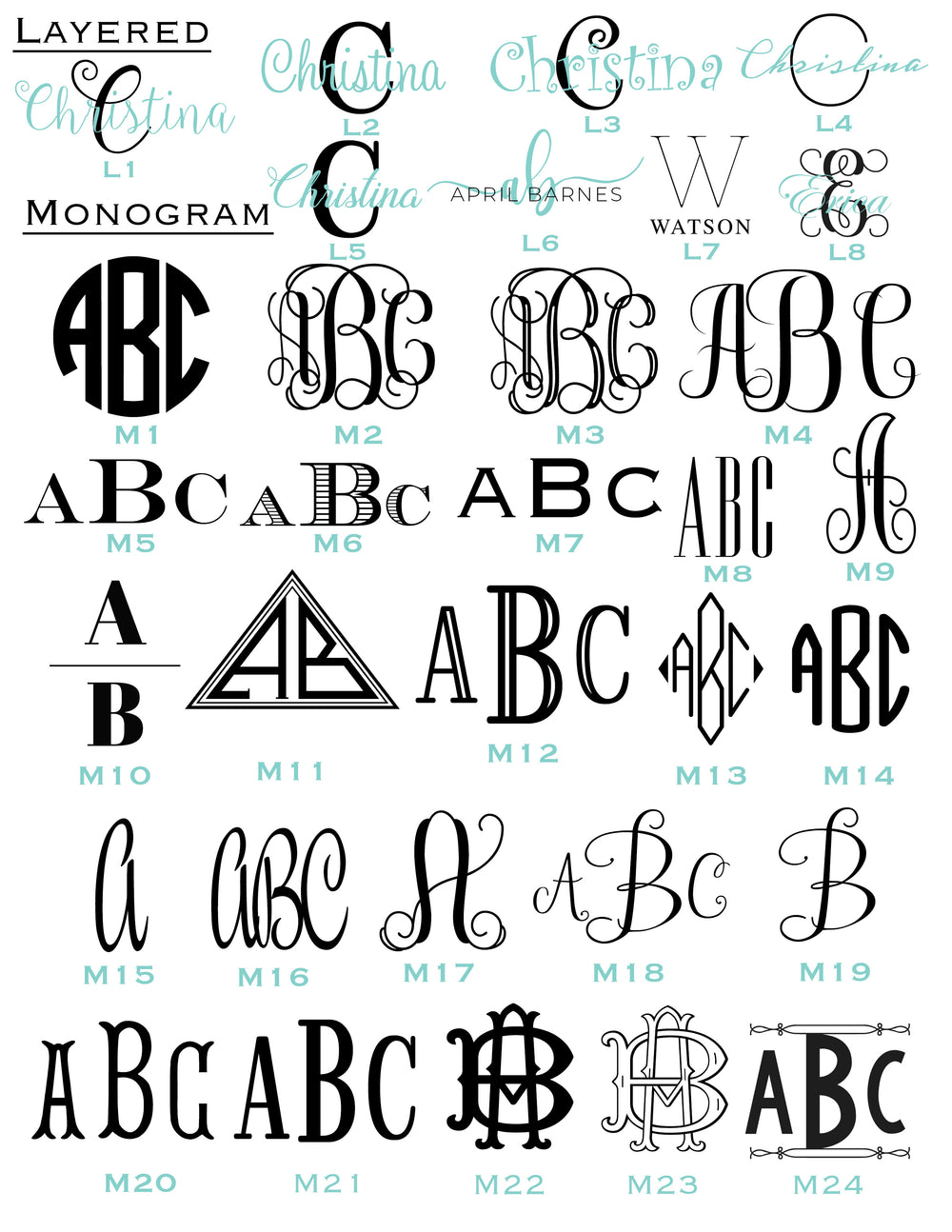 Monogram Font and Layered Font Options