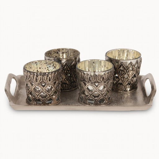 Silver Votives on Tray