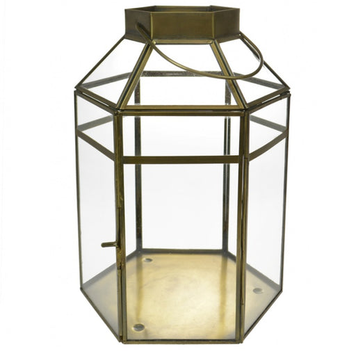 Bronze Hexagon Candle Lantern