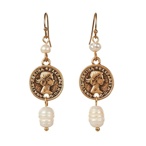 Harper Pearl Coin Earrings