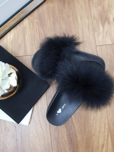 Black Real fur slippers Female indoor brown Flip Flops