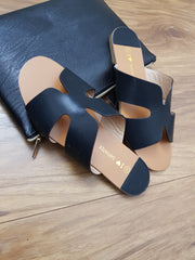 Black Flat Sandals for women